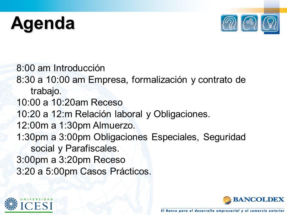 Agenda 8:00 am Introducción 8:30 a 10:00 am Empresa, formalización y contrato de trabajo.