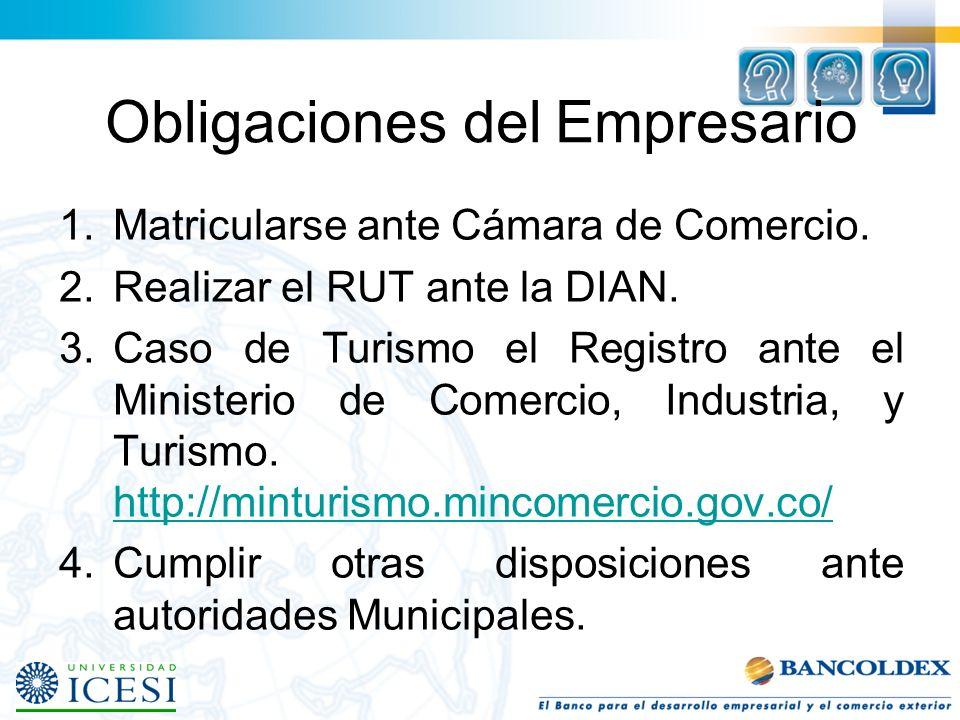 Obligaciones del Empresario 1.Matricularse ante Cámara de Comercio.