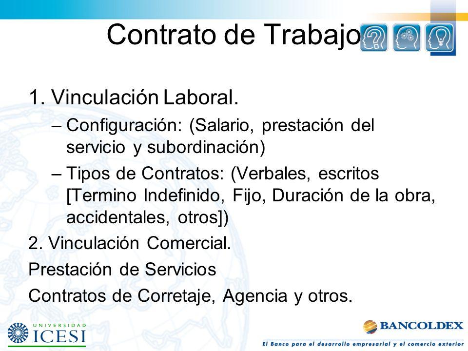 Contrato de Trabajo 1.Vinculación Laboral.