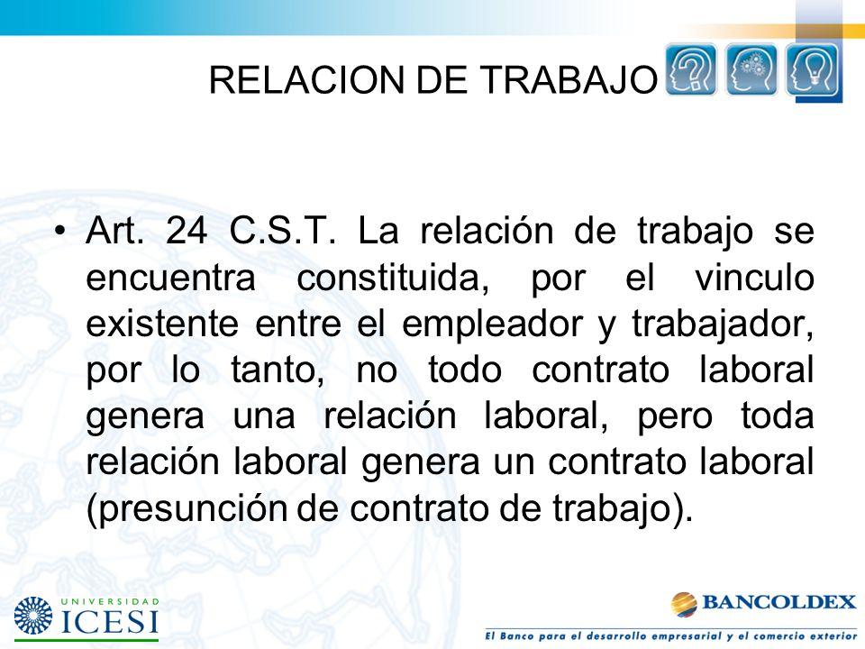 RELACION DE TRABAJO Art.24 C.S.T.