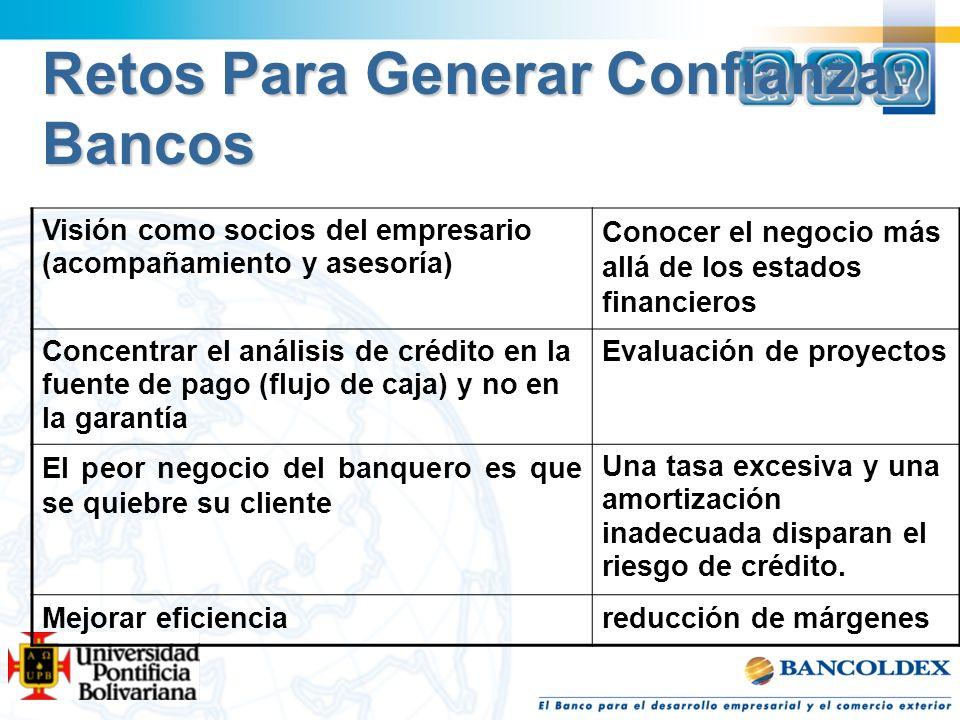 Retos Para Generar Confianza: Bancos Visión como socios del empresario (acompañamiento y asesoría) Conocer el negocio más allá de los estados financie