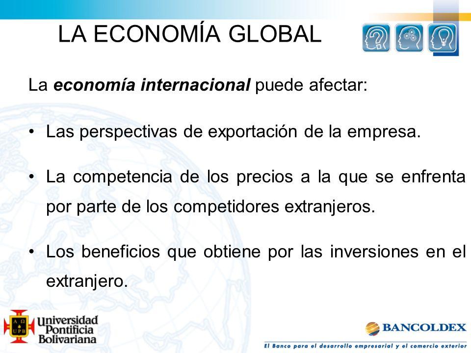 LA ECONOMÍA GLOBAL La economía internacional puede afectar: Las perspectivas de exportación de la empresa. La competencia de los precios a la que se e