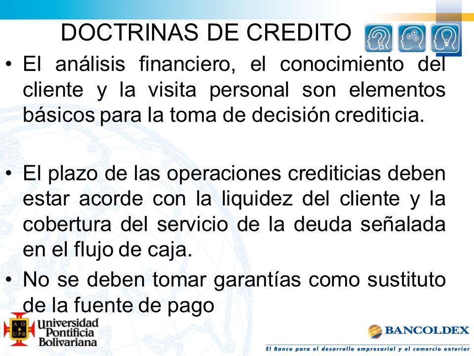 DOCTRINAS DE CREDITO El análisis financiero, el conocimiento del cliente y la visita personal son elementos básicos para la toma de decisión creditici