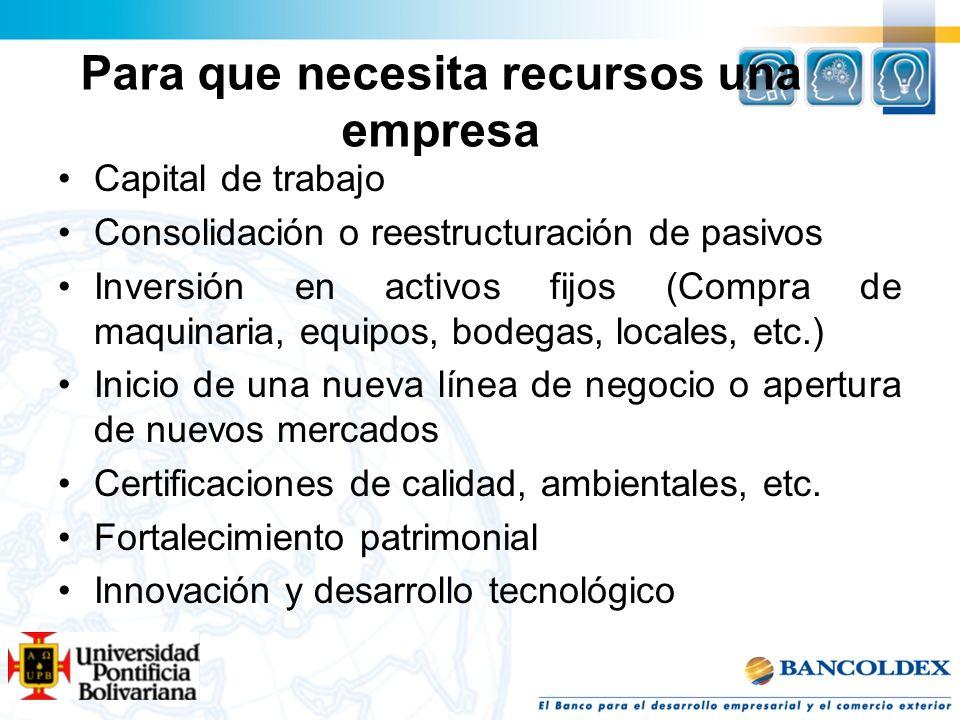 Capital de trabajo Consolidación o reestructuración de pasivos Inversión en activos fijos (Compra de maquinaria, equipos, bodegas, locales, etc.) Inic