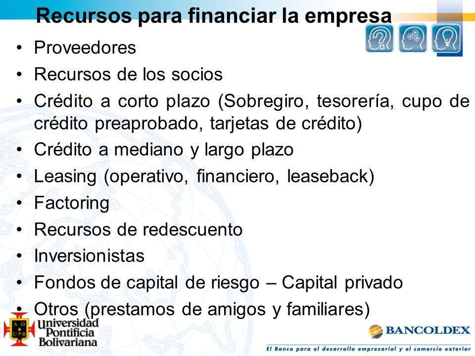 Recursos para financiar la empresa Proveedores Recursos de los socios Crédito a corto plazo (Sobregiro, tesorería, cupo de crédito preaprobado, tarjet