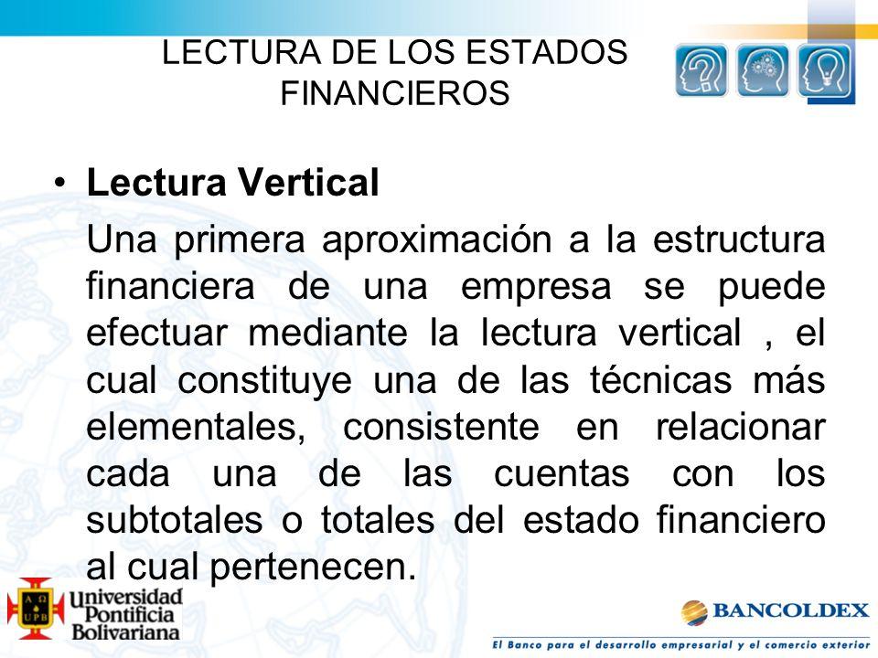 LECTURA DE LOS ESTADOS FINANCIEROS Lectura Vertical Una primera aproximación a la estructura financiera de una empresa se puede efectuar mediante la l