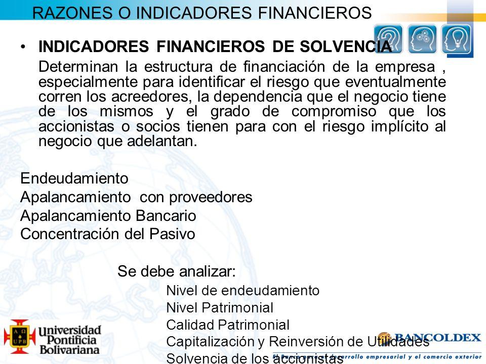 RAZONES O INDICADORES FINANCIEROS INDICADORES FINANCIEROS DE SOLVENCIA Determinan la estructura de financiación de la empresa, especialmente para iden