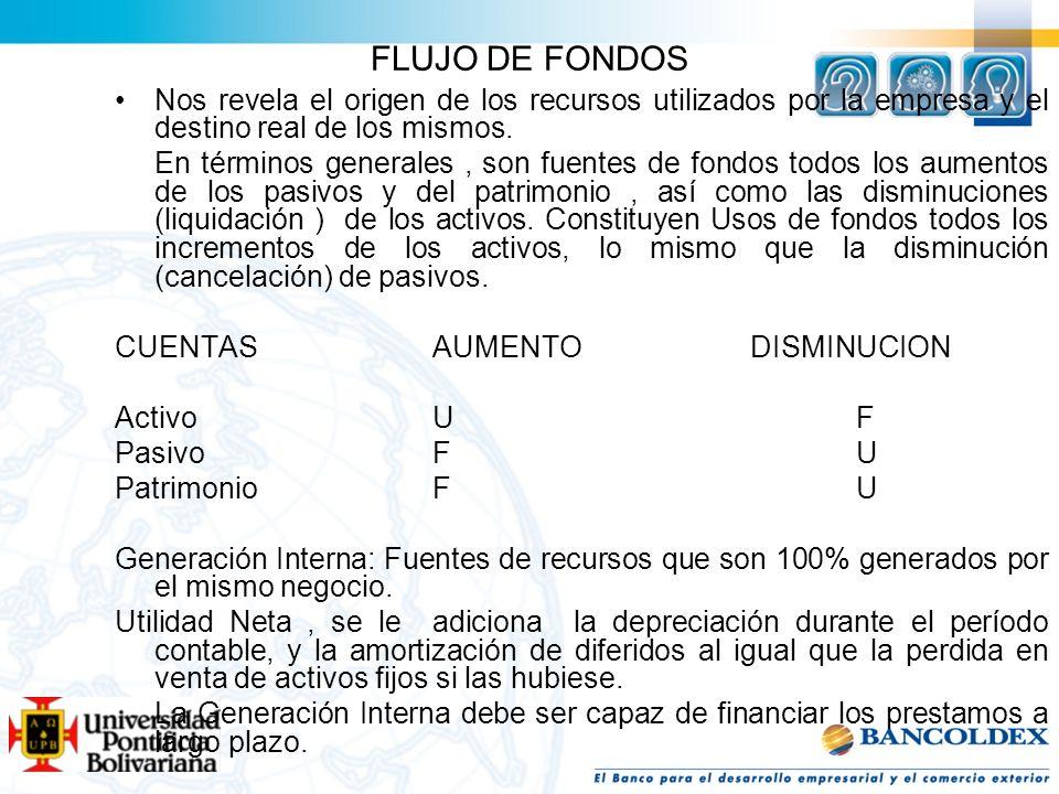 FLUJO DE FONDOS Nos revela el origen de los recursos utilizados por la empresa y el destino real de los mismos. En términos generales, son fuentes de