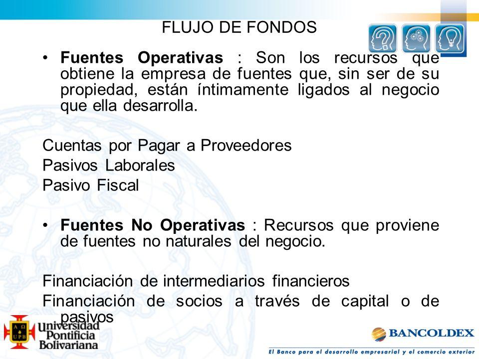 FLUJO DE FONDOS Fuentes Operativas : Son los recursos que obtiene la empresa de fuentes que, sin ser de su propiedad, están íntimamente ligados al neg