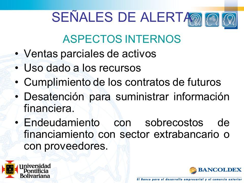 SEÑALES DE ALERTA ASPECTOS INTERNOS Ventas parciales de activos Uso dado a los recursos Cumplimiento de los contratos de futuros Desatención para sumi