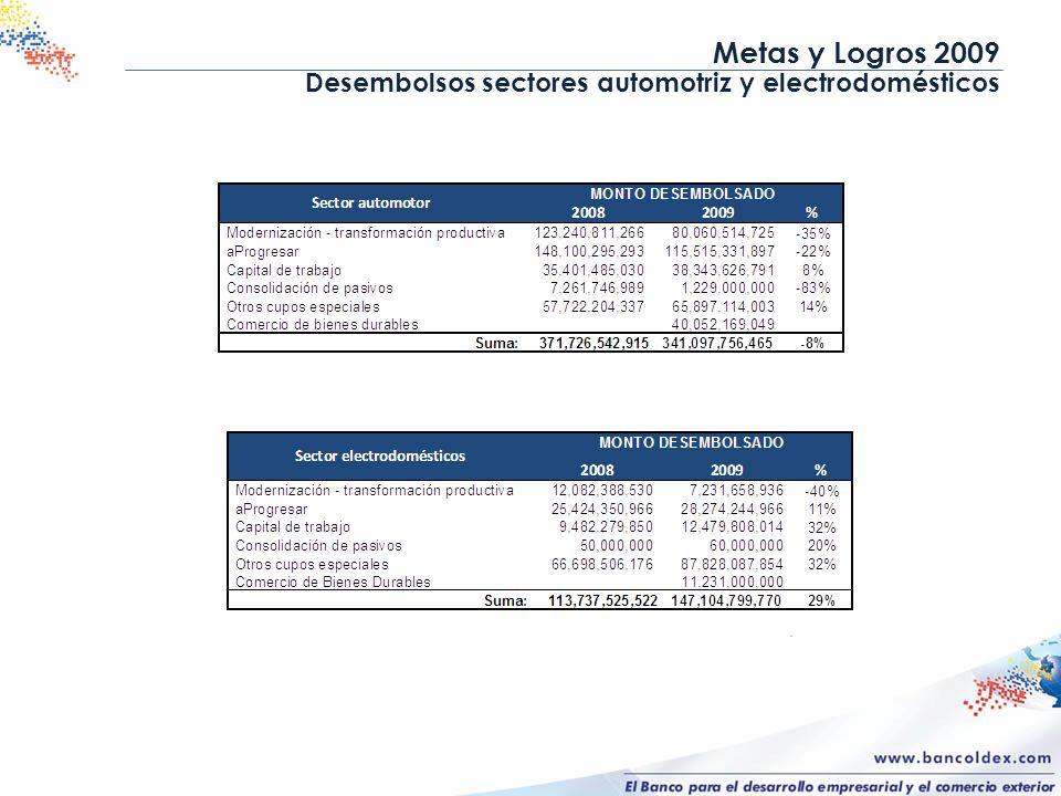 Metas y Logros 2009 Desembolsos sectores automotriz y electrodomésticos