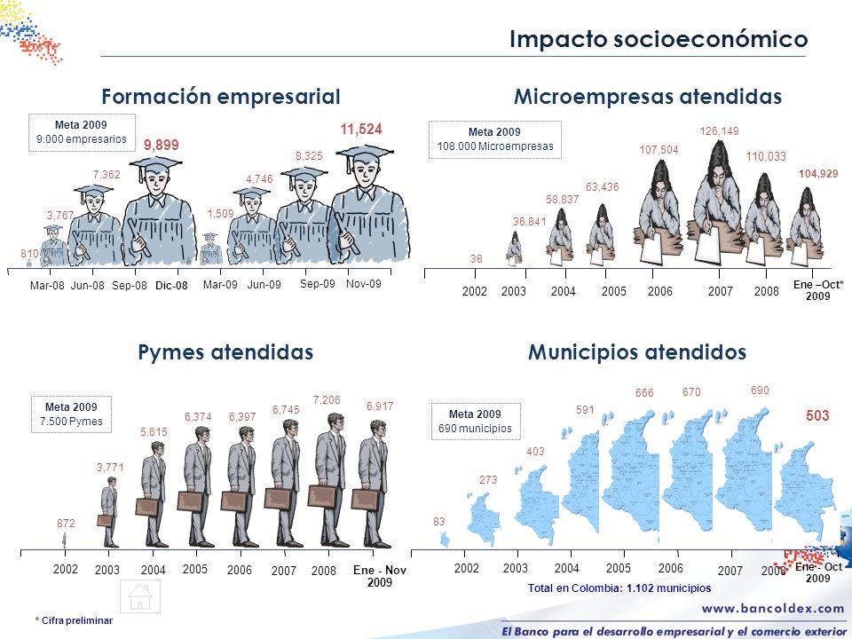 Impacto socioeconómico * Cifra preliminar 2002 872 3,771 5,615 6,374 6,397 6,745 7,206 20032004 2005 2006 2007 Ene - Nov 2009 Pymes atendidas Meta 200