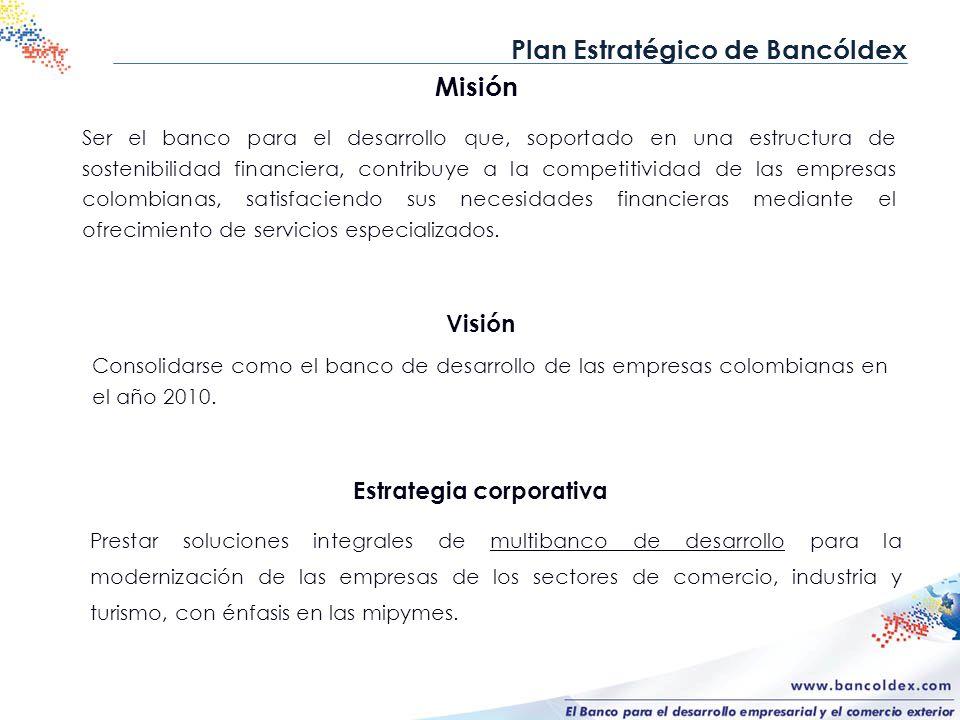 Misión Ser el banco para el desarrollo que, soportado en una estructura de sostenibilidad financiera, contribuye a la competitividad de las empresas c