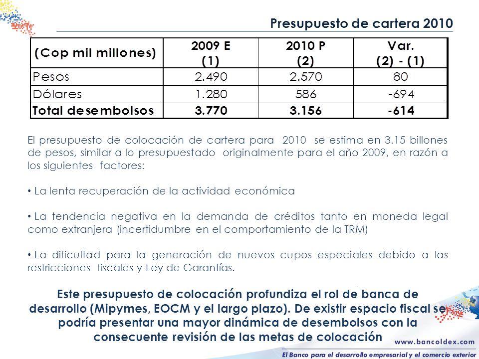 Presupuesto de cartera 2010 El presupuesto de colocación de cartera para 2010 se estima en 3.15 billones de pesos, similar a lo presupuestado original