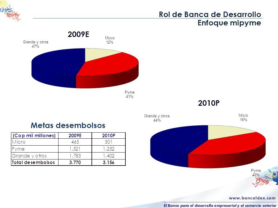 Rol de Banca de Desarrollo Enfoque mipyme 2010P Metas desembolsos 2009E