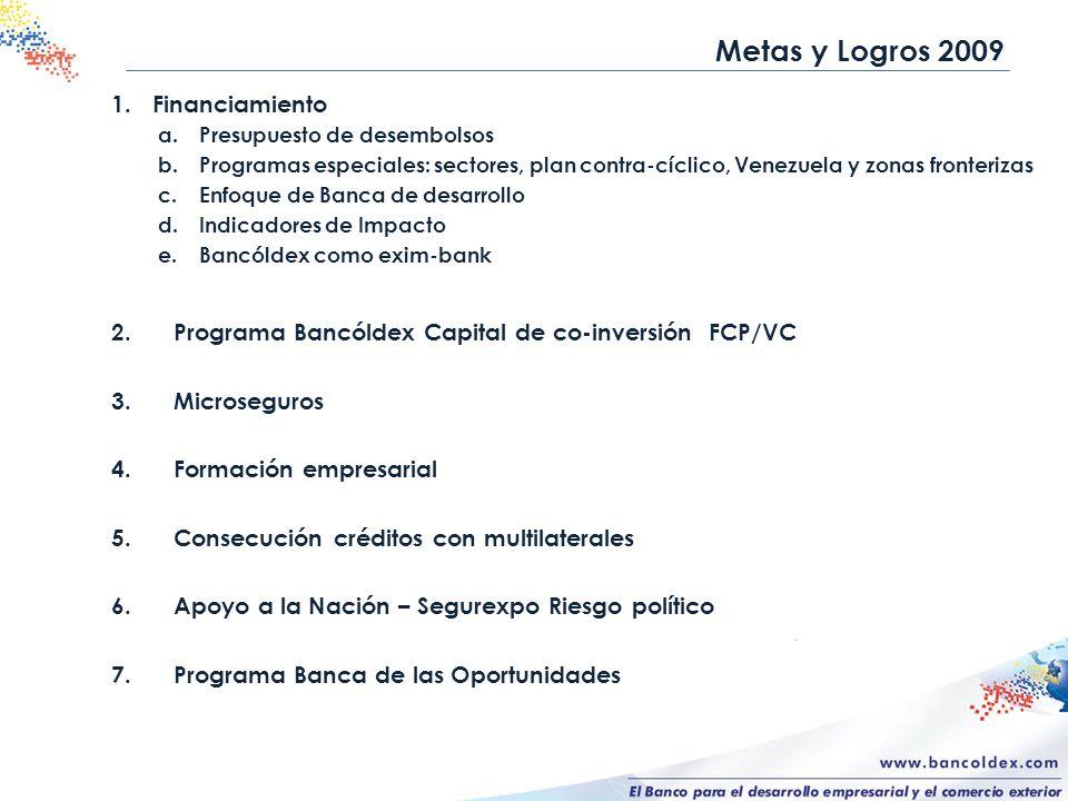 1.Financiamiento a.Presupuesto de desembolsos b.Programas especiales: sectores, plan contra-cíclico, Venezuela y zonas fronterizas c.Enfoque de Banca