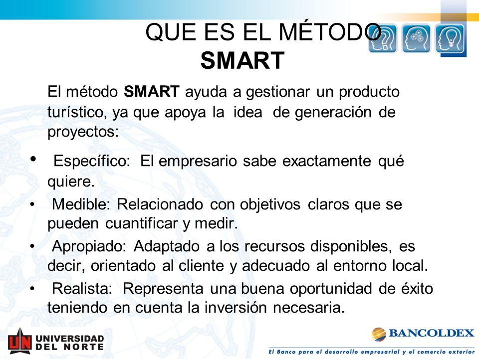 QUE ES EL MÉTODO SMART El método SMART ayuda a gestionar un producto turístico, ya que apoya la idea de generación de proyectos: Específico: El empres