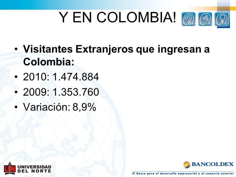 Visitantes Extranjeros que ingresan a Colombia: 2010: 1.474.884 2009: 1.353.760 Variación: 8,9% Y EN COLOMBIA!