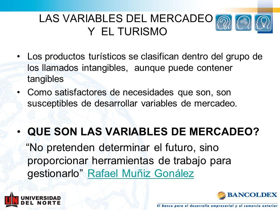 Los productos turísticos se clasifican dentro del grupo de los llamados intangibles, aunque puede contener tangibles Como satisfactores de necesidades