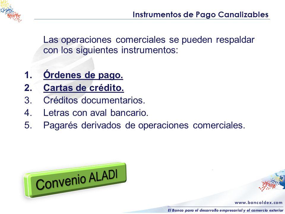 Las operaciones comerciales se pueden respaldar con los siguientes instrumentos: 1.Órdenes de pago. 2.Cartas de crédito. 3.Créditos documentarios. 4.L