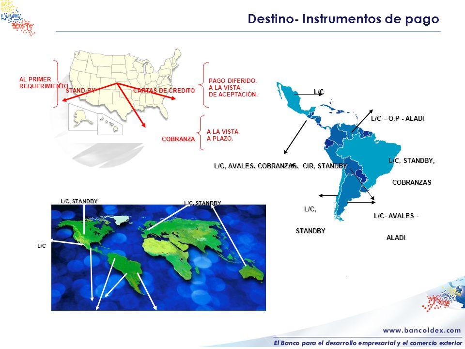 Destino- Instrumentos de pago L/C L/C, STANDBY CARTAS DE CREDITO PAGO DIFERIDO. A LA VISTA. DE ACEPTACIÓN. STAND BY AL PRIMER REQUERIMIENTO COBRANZA A