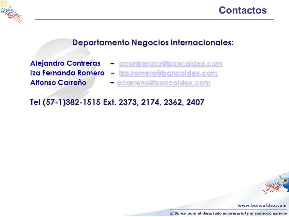 Contactos Departamento Negocios Internacionales: Alejandro Contreras – acontrerasa@bancoldex.com acontrerasa@bancoldex.com Iza Fernanda Romero – iza.r