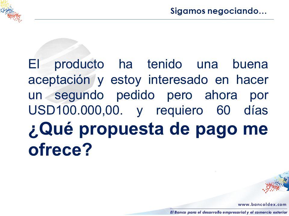 Sigamos negociando… Quiero comercializar el producto en tres ciudades mas por lo cual requiero un pedido de USD500.000,00.
