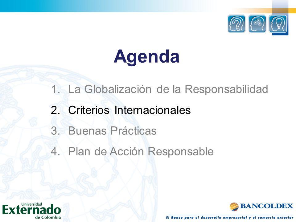 Agenda 1.La Globalización de la Responsabilidad 2.Criterios Internacionales 3.Buenas Prácticas 4.Plan de Acción Responsable