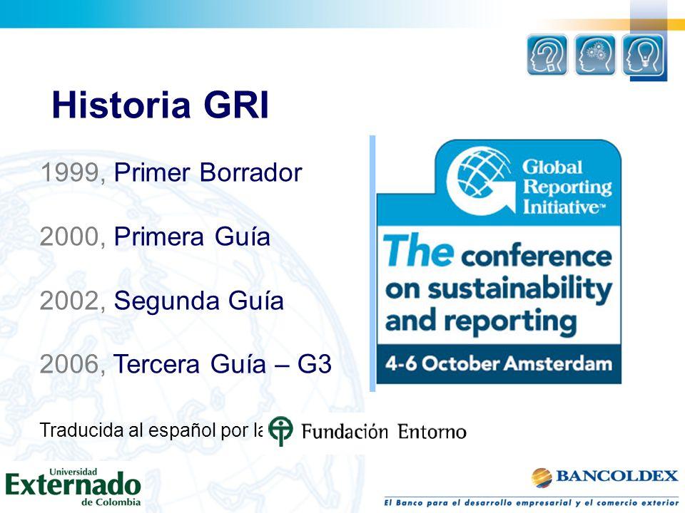 Historia GRI 1999, Primer Borrador 2000, Primera Guía 2002, Segunda Guía 2006, Tercera Guía – G3 Traducida al español por la