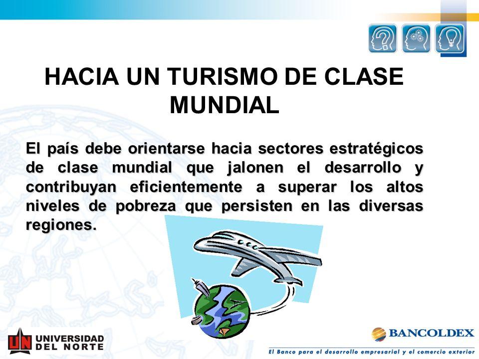 HACIA UN TURISMO DE CLASE MUNDIAL El país debe orientarse hacia sectores estratégicos de clase mundial que jalonen el desarrollo y contribuyan eficien