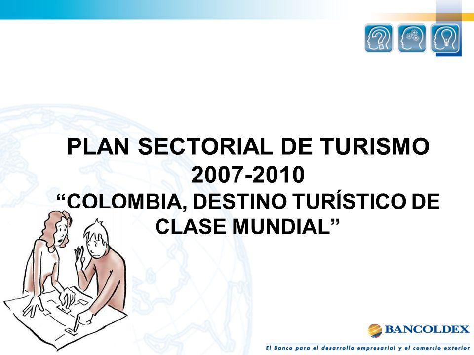 HACIA UN TURISMO DE CLASE MUNDIAL El país debe orientarse hacia sectores estratégicos de clase mundial que jalonen el desarrollo y contribuyan eficientemente a superar los altos niveles de pobreza que persisten en las diversas regiones.