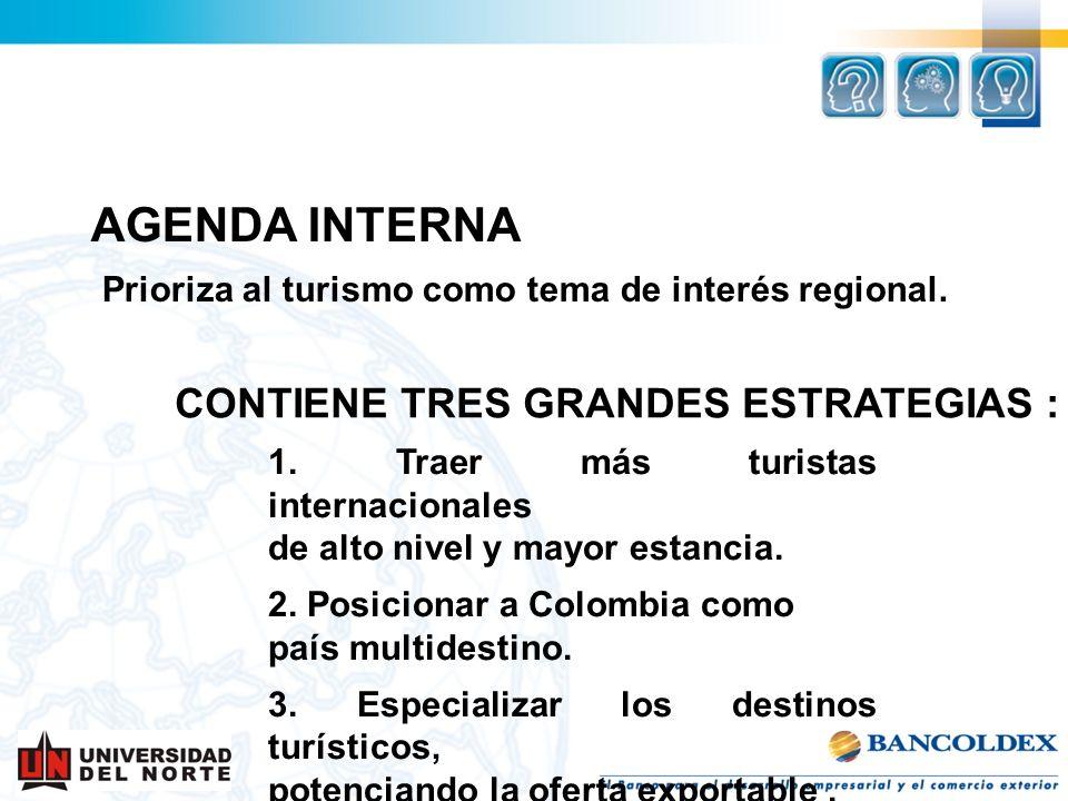 1. Traer más turistas internacionales de alto nivel y mayor estancia. 2. Posicionar a Colombia como país multidestino. 3. Especializar los destinos tu