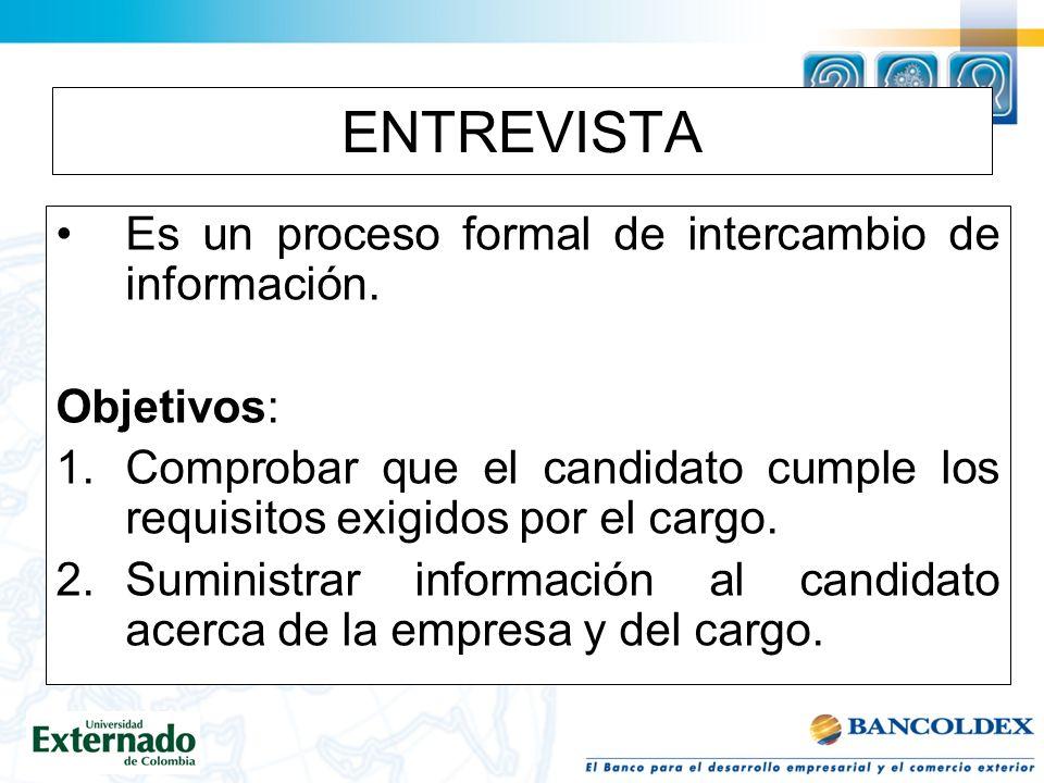ENTREVISTA Es un proceso formal de intercambio de información.