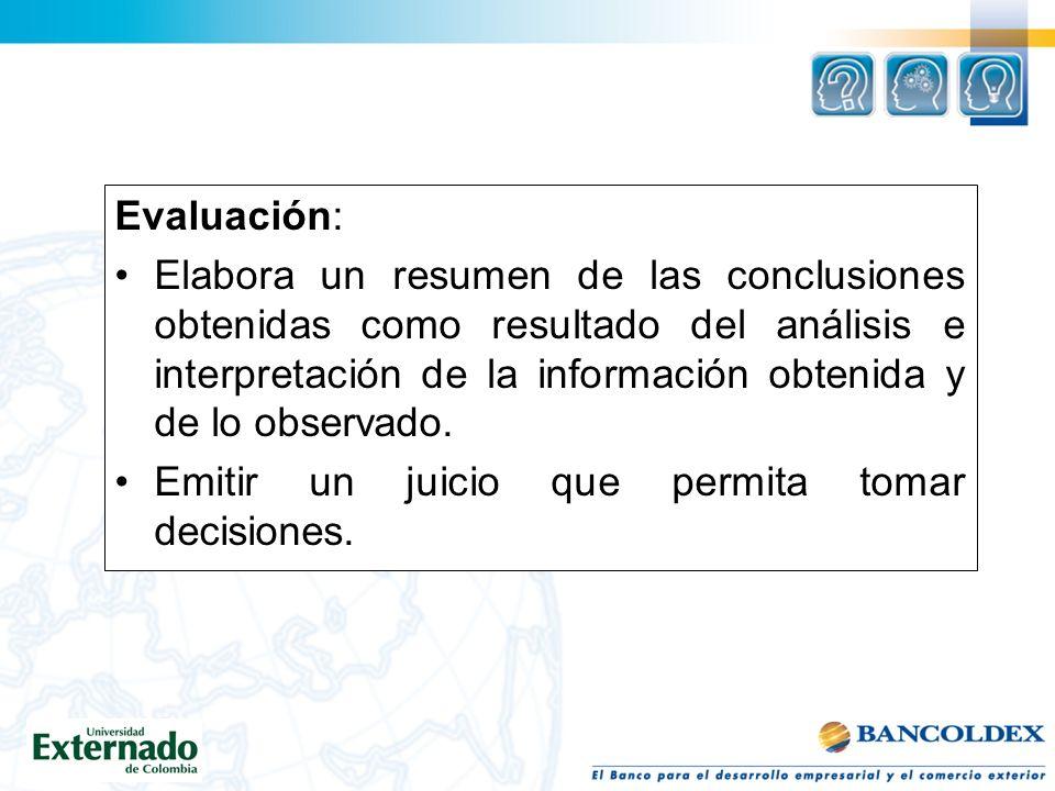 Evaluación: Elabora un resumen de las conclusiones obtenidas como resultado del análisis e interpretación de la información obtenida y de lo observado.
