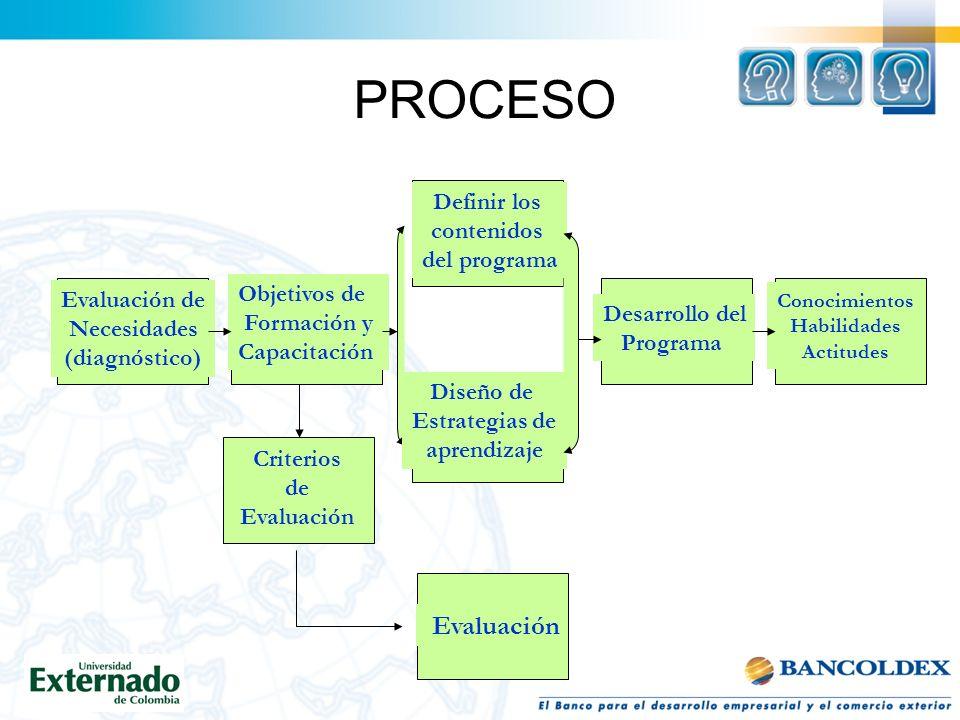 PROCESO Evaluación de Necesidades (diagnóstico) Objetivos de Formación y Capacitación Definir los contenidos del programa Diseño de Estrategias de aprendizaje Criterios de Evaluación Desarrollo del Programa Conocimientos Habilidades Actitudes Evaluación
