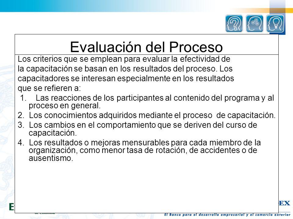 Evaluación del Proceso Los criterios que se emplean para evaluar la efectividad de la capacitación se basan en los resultados del proceso.