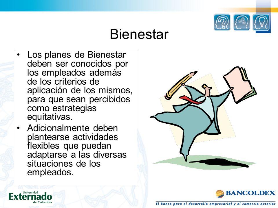 Bienestar Los planes de Bienestar deben ser conocidos por los empleados además de los criterios de aplicación de los mismos, para que sean percibidos como estrategias equitativas.