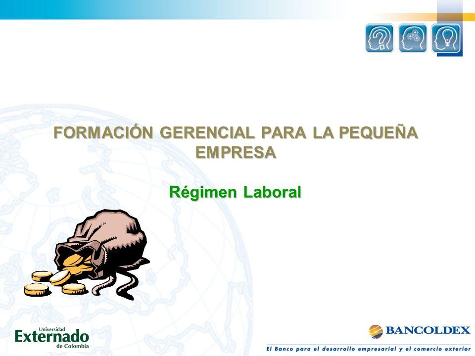 FORMACIÓN GERENCIAL PARA LA PEQUEÑA EMPRESA Régimen Laboral