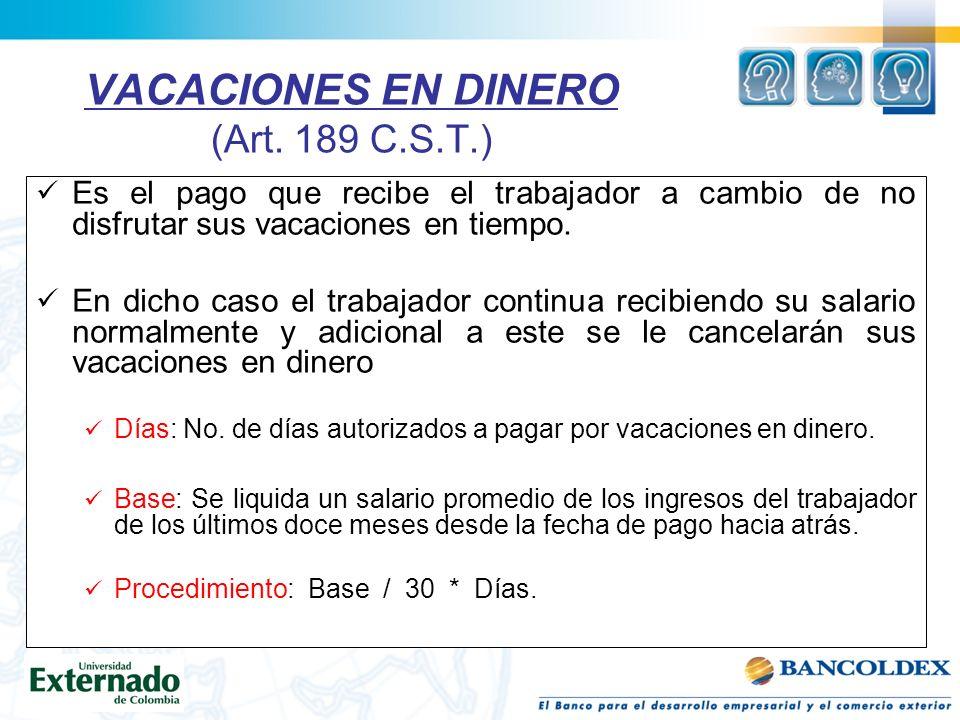 VACACIONES EN DINERO (Art.