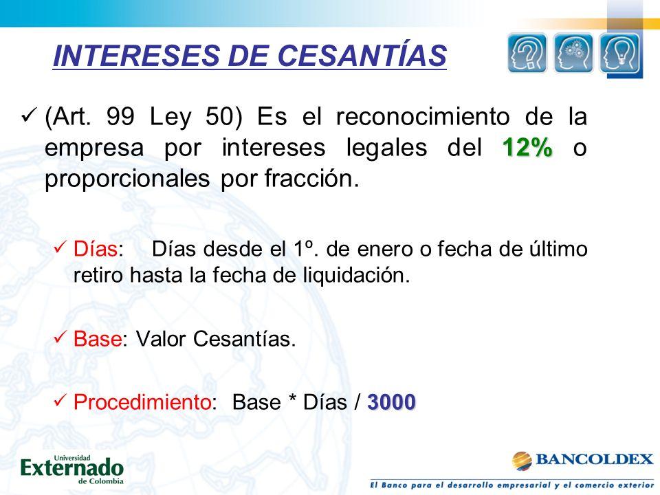 INTERESES DE CESANTÍAS 12% (Art.