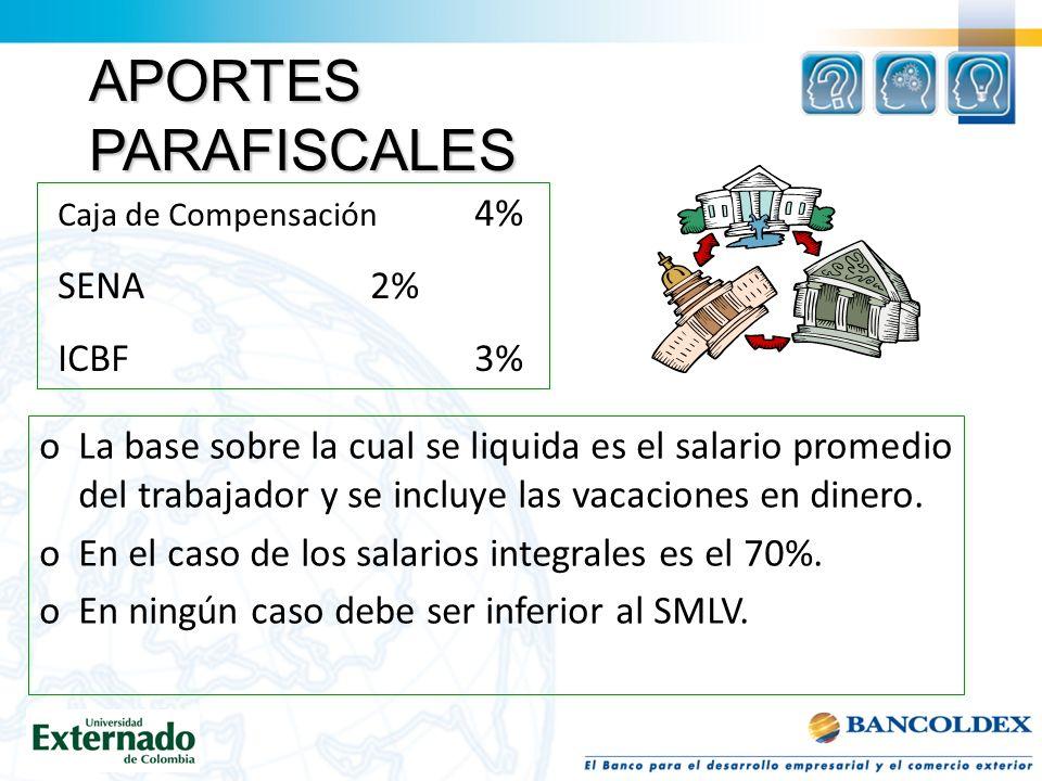 oLa base sobre la cual se liquida es el salario promedio del trabajador y se incluye las vacaciones en dinero.
