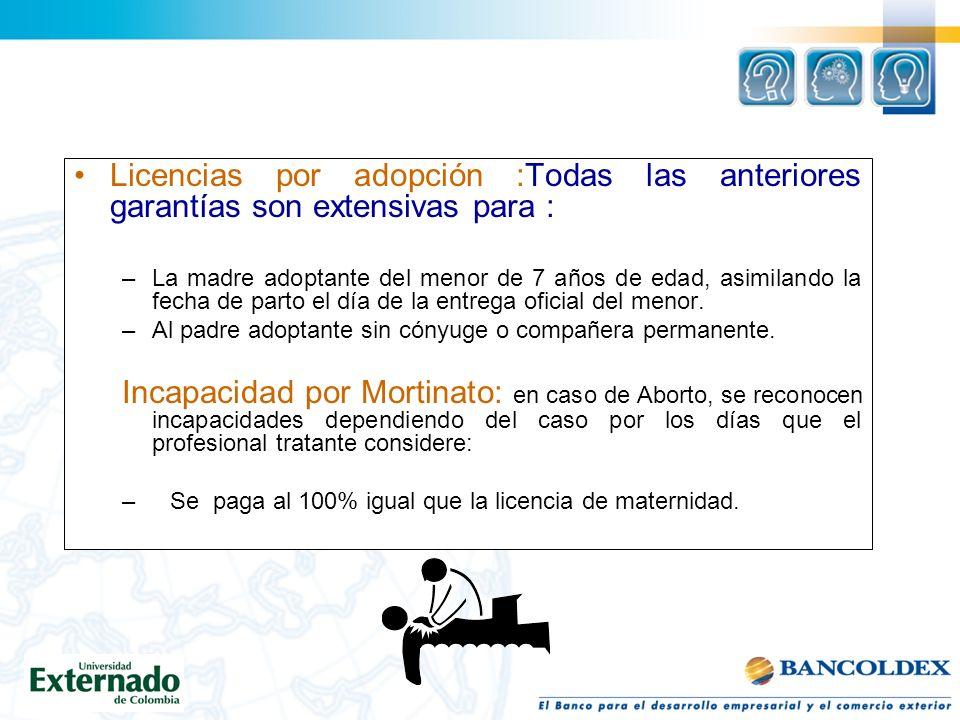 Licencias por adopción :Todas las anteriores garantías son extensivas para : –La madre adoptante del menor de 7 años de edad, asimilando la fecha de parto el día de la entrega oficial del menor.