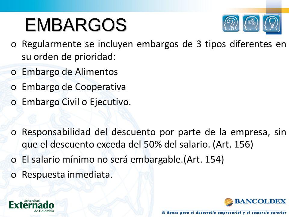EMBARGOS oRegularmente se incluyen embargos de 3 tipos diferentes en su orden de prioridad: oEmbargo de Alimentos oEmbargo de Cooperativa oEmbargo Civil o Ejecutivo.