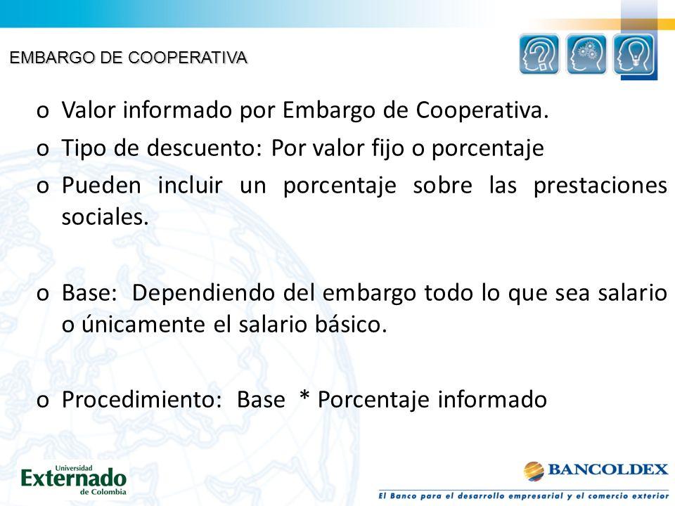 EMBARGO DE COOPERATIVA oValor informado por Embargo de Cooperativa.