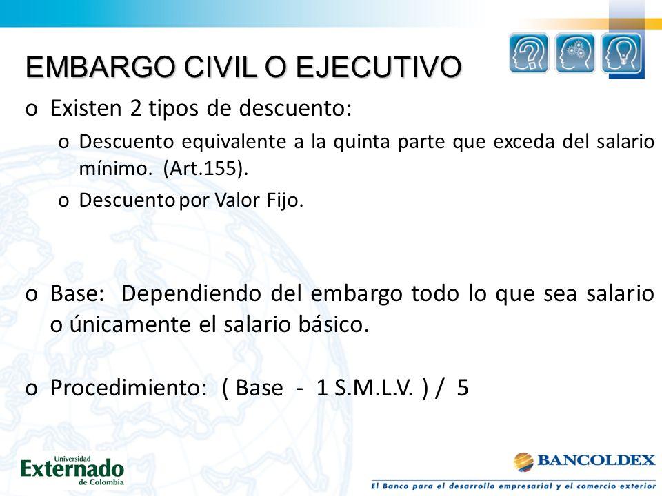 EMBARGO CIVIL O EJECUTIVO oExisten 2 tipos de descuento: oDescuento equivalente a la quinta parte que exceda del salario mínimo.