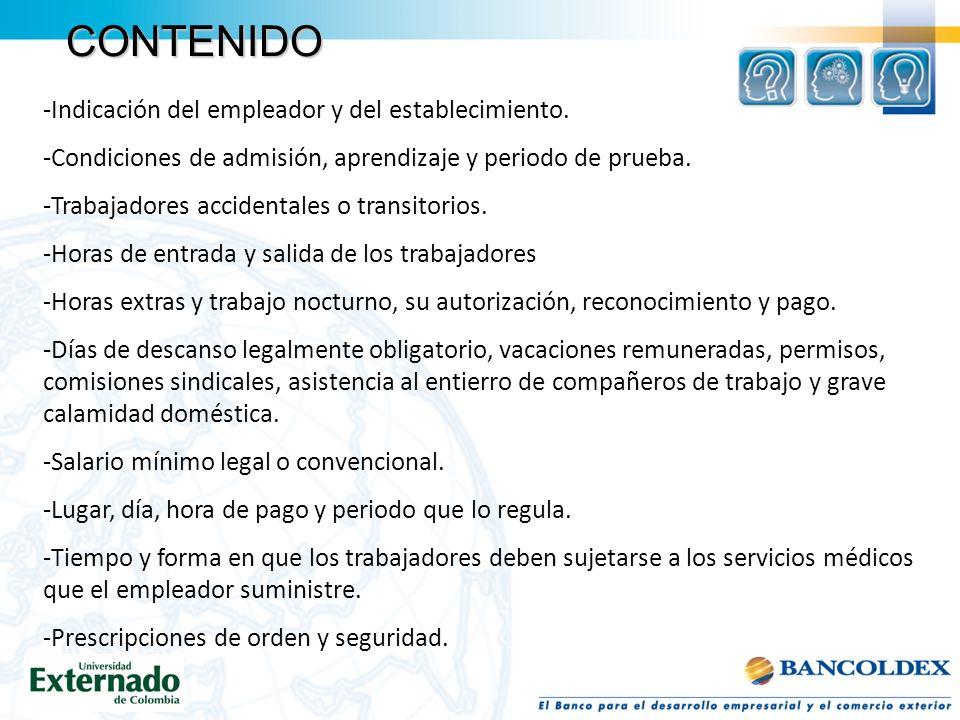 CONTENIDO -Indicación del empleador y del establecimiento.