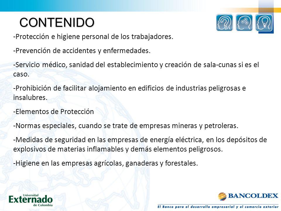 CONTENIDO -Protección e higiene personal de los trabajadores.