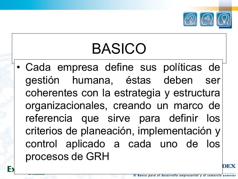 BASICO Cada empresa define sus políticas de gestión humana, éstas deben ser coherentes con la estrategia y estructura organizacionales, creando un marco de referencia que sirve para definir los criterios de planeación, implementación y control aplicado a cada uno de los procesos de GRH
