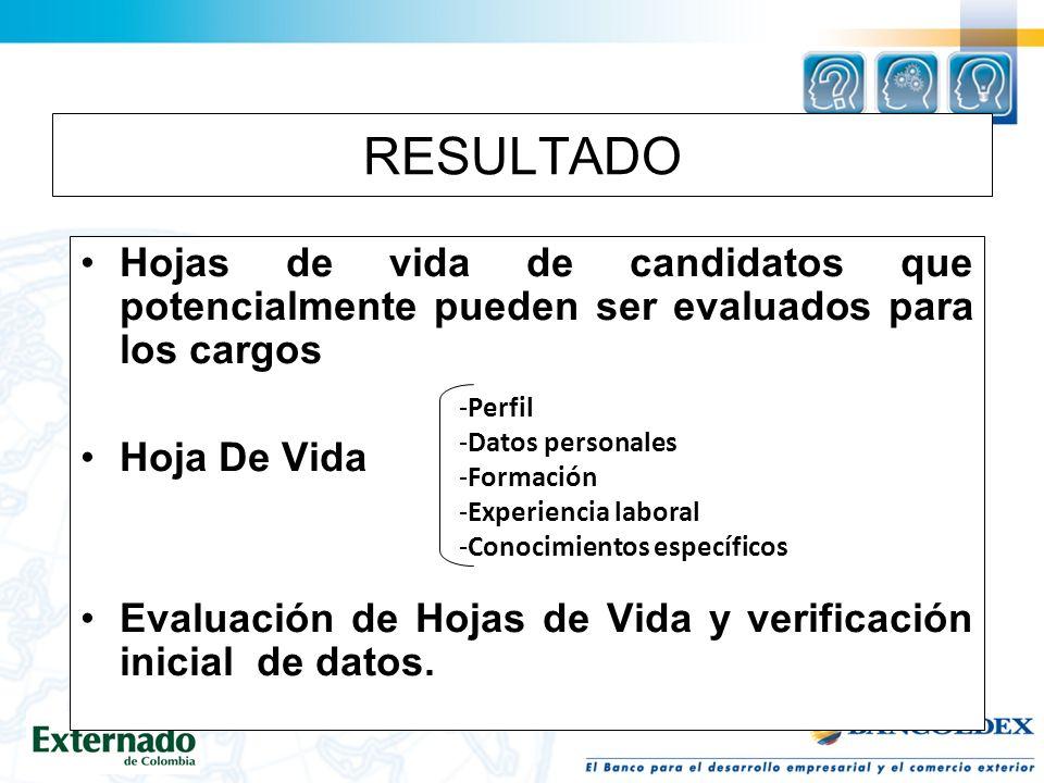 RESULTADO Hojas de vida de candidatos que potencialmente pueden ser evaluados para los cargos Hoja De Vida Evaluación de Hojas de Vida y verificación inicial de datos.