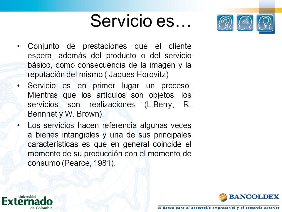 Servicio es… Conjunto de prestaciones que el cliente espera, además del producto o del servicio básico, como consecuencia de la imagen y la reputación